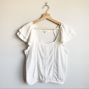 Caution to the Wind White Blouse Short Sleeve M
